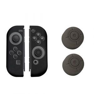 Bescita 1paires Coque en silicone gel pouce Grips Caps pour Nintendo contrôleur de commutateur, gris