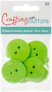 Blumenthal Large Color Buttons 8/Pkg-Lime Green 7/8″