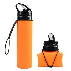 BUYTNUC Tasse Pliante en Silicone – Tasse Pliable, Bouilloire Pliante de 600 ML Convient pour Une Utilisation en extérieur, Orange
