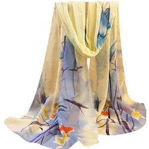 ceintures pour femme, Voberry Fashion Lady Femme Floral Prints Châle en mousseline de soie Écharpe, bleu