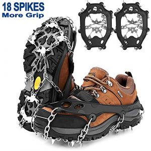 Crampons Anti-Glisse Verglas 18 Dents Crampons Antidérapantes sur Chaussures Citadines Bottes Hivernales Crampon Neige Verglas Boue Chaines de Chaussures Anti-Glisse Homme Femme (Taille XL)