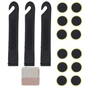 CZ Store®-✮Garantie A Vie✮- rustine Velo-Kit Reparation Velo avec Demonte pneus Velo (3PCS) et Patch Velo (12 PCS)-Kit rustine Velo Anti crevaison pour Chambre à air VTT