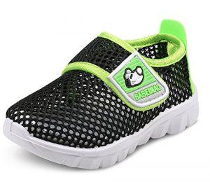 DADAWEN Chaussons Aquatiques Mesh Running Sneakers Sandales pour bébé garçon Fille- Noir 24