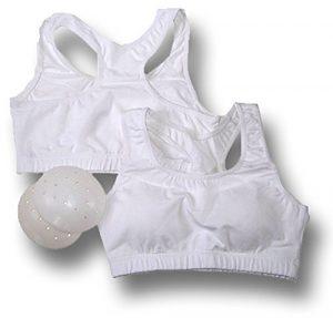 Élégant dames sportives de haut niveau / poitrine protecteur pour l'utilisation de l'usure Karaté / Taekwondo ou occasionnel, blanche, taille: 86-89cm