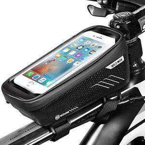ENONEO Sacoche Vélo Telephone Sacoche de Cadre Velo Étanche avec Écran Tactile Sensible Sacoches VTT Cadre Pochette Velo Guidon pour iPhone X/XS Max/XR/8/Samsung S9/S8 Téléphone 6,6 Pouces (Noir)
