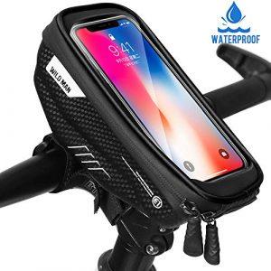 Faneam Sacoche Vélo Cadre Etanche Sacoche Guidon Vélo avec Écran Tactile, Support Vélo Téléphone Pochette Velo Guidon pour iPhoneXS Max/XR/X/8Plus/Samsung S9/S8 jusqu'à 6.5″ Smartphone, Noir