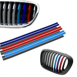 FinDox(TM) New Hot PVC D¨¦coration de voiture Grille Kidney M Sport Stripe 3 Couleur Decal vinyle autocollant pour BMW