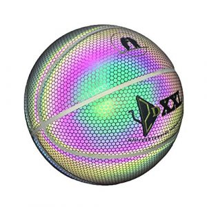 Grizack Ballon de Basket-Ball Lumineux, Street Basketbal, Intérieur/Extérieur, Durable, Lumineux, Basket-Ball, Night Game Street PU Lumineuse Rainbow Light Outil d'entraînement pour Enfant