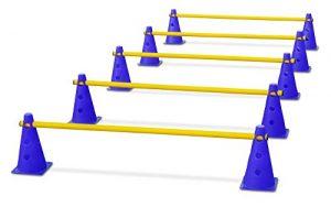 HAEST Lot pour l'entraînement de la coordination – haies – bleu et jaune
