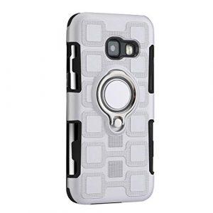 ibasenice Etui pour téléphone Portable avec Support de Bague à Doigt Etui pour téléphone magnétique Etui pour téléphone Antichoc pour Samsung Galaxy A3 2017 (Argent)