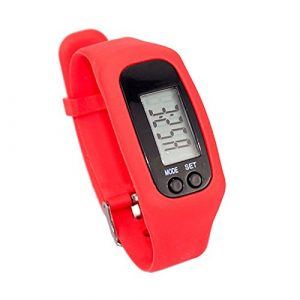 Kenthia extérieur Electronics Sports Watche Digital Utilitaire LED podomètre Exécuter Étape Compteur Bracelet de Montre, Red