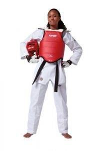 KWON Competition Plastron de taekwondo réversible Multicolore Rouge/bleu 1