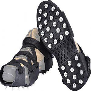 MINIRAH! Antidérapant Glace Traction Crampons Anti Glisse pour Chaussures à 32 Dents pour Randonnée Trekking Marche Escalade (Noir, One Set (35-44))