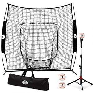 Morvat Filet de Baseball et Tee Bundle, Filet de Base-Ball, équipement d'entraînement de Baseball pour Frapper et Lancer, Accessoires de Baseball, Bownet et Sac de Transport Inclus