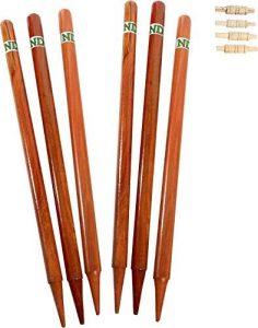 ND Bois Cricket 6X Souche & 4 X Bail Guichet Naturel Couleur avec Sac Taille Réelle Nouveau – Polis Bois Naturel, One Size