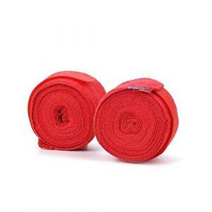 Ogquaton Qualité Premium Handwraps Boxing – Bandes Bandage pour MMA Gant De Boxe Boxe Boxer Sac De Boxe Poignées 2,5 M Rouge