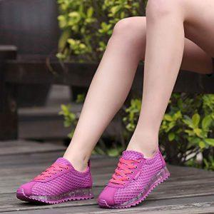 PDHP Chaussures De Plein Air Plate –Forme Respirant D'Été Femmes Chaussures Lightweight CasualChaussures ÀEnfiler Chaussures Verni Noir Net