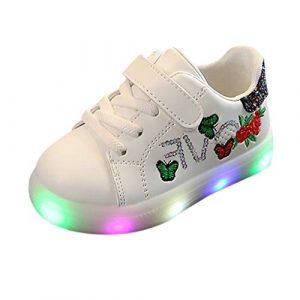 POIUDE BéBé Imprimé Floral Chaussures Led Sport des Chaussures, Brillant Veilleuse Barre Transversale Bambin Gamins Enfants LumièRe Up Lumineux Chaussures de Sport(Noir,2.5-3 Ans)