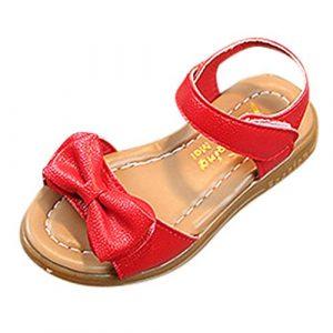 POIUDE Chaussures Pour BéBé, Chaussures de BéBé Bebe Girl Sandales En Cuir Bowknot D'éTé En Cuir Souple Chaussures Pour BéBé 1-9 Ans(rouge,5-5.5 Ans)