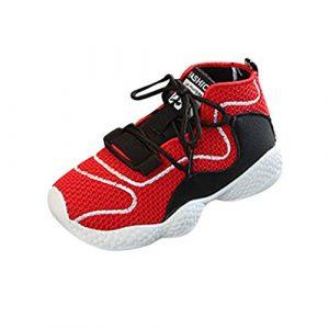 POIUDE Enfants GarçOns Filles Basketball Mode Chaussures Sports Loisirs Running Wild Sneakers Fitness Gym AthléTique Chaussures de Plein Air Mesh Respirant(rouge,12-18 Mois)