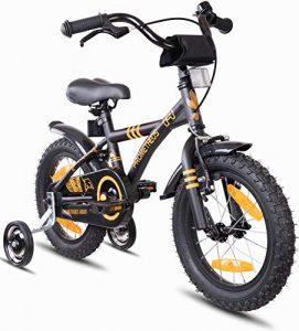 Prometheus vélo enfant 14 pouces pour garçons et fille en Noir Mat et Orange à partir de 4 ans avec stabilisateurs et rétropédalage – BMX 14 pouces modèle 2019