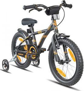 Prometheus vélo Enfant 16 Pouces pour garçons et Fille en Noir Mat et Orange à partir de 5 Ans avec stabilisateurs et rétropédalage – BMX 16 Pouces modèle 2019