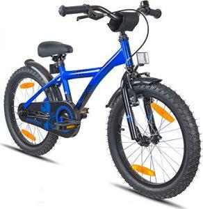 Prometheus vélo enfant 18 pouces pour garçons et filles en bleu et noir à partir de 6 ans avec freins V-Brake en aluminium et rétropédalage – BMX 18 pouces modèle 2019