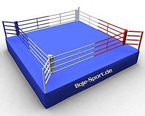 ring de boxe AIBA 7 x 7 m (dimensions intérieures 6 x 6 m, hauteur 0,9 à 1 m)