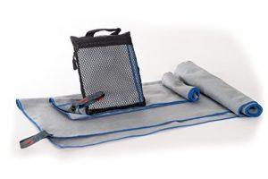 Run Forever Sports microfibre Serviette de sport et de voyage–Souple et légère, Super absorbant et séchage rapide, Homme femme, gris/bleu