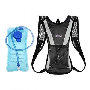 Sac à Dos d'hydratation, Sacoche à vélo avec vessie d'eau de 2 litres Cyclisme Escalade Camping Sacs de Course Noir