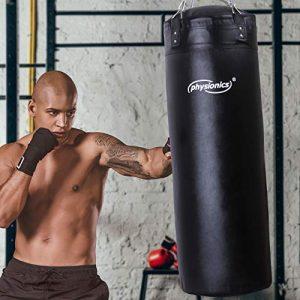 Sac de Frappe Plein   Rempli, Ø35 cm, H100cm, Poids 27 kg, Chaîne de Suspension 4 points et Mousqueton Inclus   Punching Bag Boxe, MMA, Muay Thai, Kickboxing, Arts Martiaux, Taekwando, Fitness, Sport