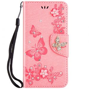 SainCat Coque Compatible avec Samsung Galaxy A8 2018/A5 2018 Ultra Mince Portefeuille Papillon Paillette Bling Bling Strass Flip Cuir Cover Fonction Support Antichoc Bumper Étui Case-Rose