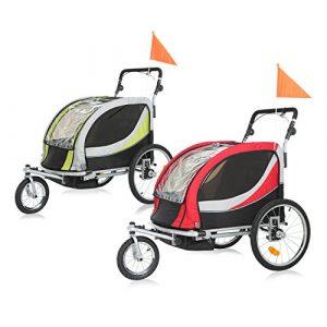 SAMAX PREMIUM Remorque Vélo convertible Jogger 2en1 360° rotatif Pour 2 Enfants Amortisseur Transport Poussette in Vert/Gris – Silver Frame