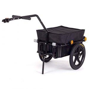 SAMAX Remorque de Vélo Chariot de Transport Haute Traction avec Poignée et Bâche 60 kg 70L en Noir – plus de couleurs disponibles