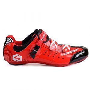 Skyrocket Flyling Chaussures vélo de Route Homme et Femme Chaussure de Cyclisme (SD002 Rouge – Noir, 41)