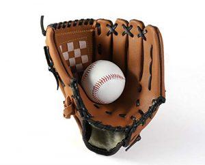 SOWOFA Montage Baskets Baseball épaissir Champ Intérieur Pichet Gants de Baseball Softball Gants Teen Modèle M Taille (29,2cm) Plus Envoyer Baseball One, Marron