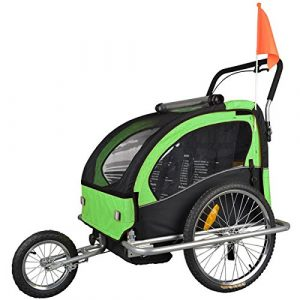 Tiggo Convertible Jogger Remorque à Vélo 2 en 1, pour enfants – JBT03A-D02 502-D02 Vert/Noir