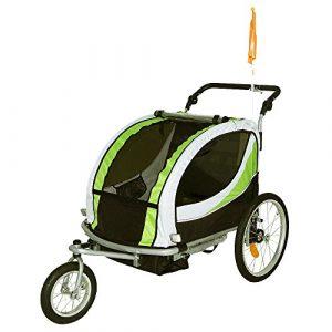 Tiggo Jogger Remorque à Vélo 2 en 1, pour Enfants + Amortisseur 802-D02 JBT03N – Lemon Vert-Noir