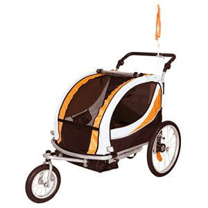 Tiggo Jogger Remorque à Vélo 2 en 1, pour Enfants + Amortisseur 802-D03 JBT03N – Orange-Noir