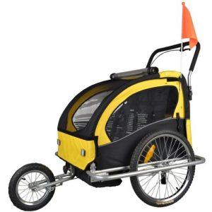 TIGGO World Convertible Jogger Remorque à Vélo 2 en 1, pour enfants – JBT03A-D03 502-D03 Jaune/Noir