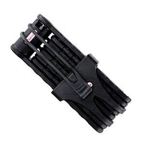 Tofern Antivol Pliable Résistance à Effraction Revêtement ABS Support Porte-bidons Robuste Résistant Cadenas à Clé VTT Vélo Route Vélo Pliant Fixie VTC Moto Scooter Noir