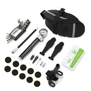 Trousse d'outils de Vélo ,Outil de Réparation de Tournevis 16 en 1, avec Leviers de Pneu,Pompe à Vélo,Râpe en Métal et Kit de Patch