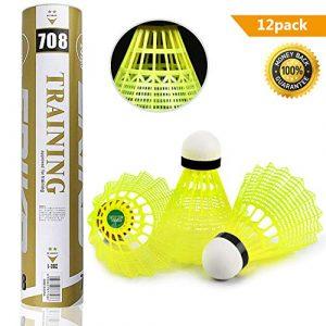 Yokunat 12Pcs Boule de Badminton en Nylon Durable Volants de Formation en Plastique de Badminton Balles avec Une Grande stabilité et durabilité pour l'intérieur Sports de Plein air (Jaune)