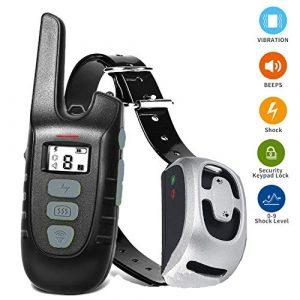 Adodi Havenfly Tech Shock Collier pour Chiens, Collier de Choc Chien Rechargeable avec télécommande 500 Pieds Range, 100% IP67 étanche bip, vibreur, Modes de Choc Collier de Dressage de Chien