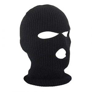 Aofocy 1 PCS Unisexe 3 Trou Tricoté Balaclava Masque Chapeau Coupe-Vent Masque Facial Universel Ski Vélo Masque pour Activités De Plein Air Noir