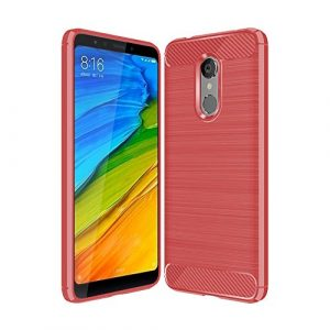 Bainuojia Xiaomi Redmi 5 Étui de Protection en Silicone TPU résistant aux Chocs Design Carbone Coque de Protection pour Xiaomi Redmi 5, Rouge