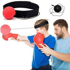 Balle de Combat avec Bandeau de Tête,Ballon de Boxe pour La Formation de Vitesse Réflexe Punch Exercice Entraînement