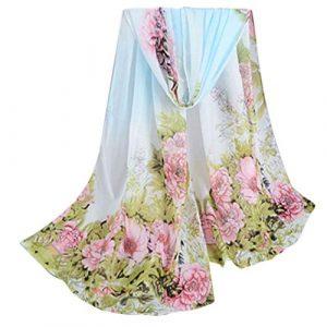 ceintures pour femme, Voberry Femme élégante Femme Pivoine Prints Châle en mousseline de soie Écharpe, bleu