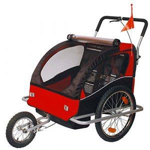 Convertible Jogger Remorque à Vélo 2 en 1, pour enfants – 502-01 Rouge/Noir
