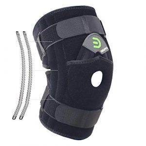 DISUPPO Attelle de Genou avec stabilisateur de Ressort Double Face, stabilisateur de Support de Genou à rotule Ouverte Ajustable pour arthrite, tendinite, Femmes Hommes (Printemps, 2XL)
